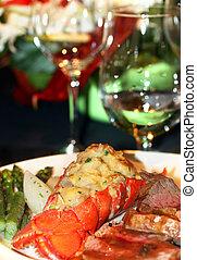 Gourmet lobster dinner at the fine restaurant