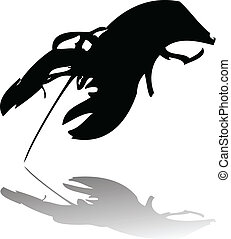 lobster vector silhouette isolated on white