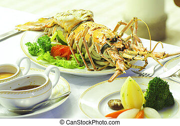 Lobster food on dining table in restaurant