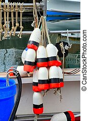 Lobster gear - Bouys for marking traps on a lobster boat