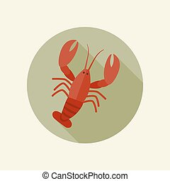 Lobster icon - Crawfish vector icon in a flat style.