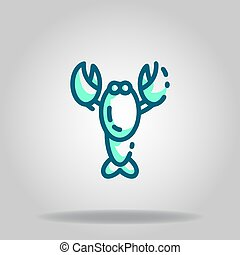 lobster icon or logo in  twotone - Logo or symbol of lobster...