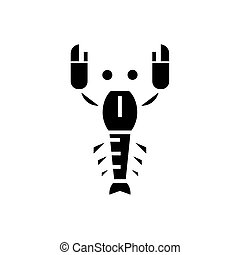 lobster icon, vector illustration, black sign on isolated background
