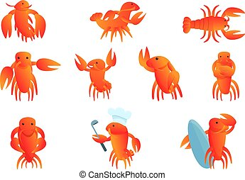 Lobster icons set, cartoon style