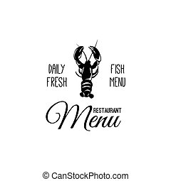 Lobster label seafood restaurant. Fish menu badge. Vector illustration isolated on white