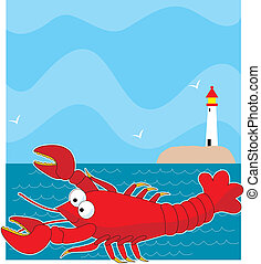 Lobster Light House - A large red cartoon style lobster. The...