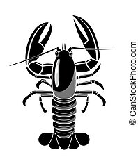 Lobster is on white background.