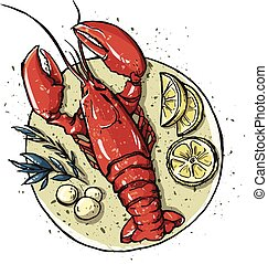 Lobster on a dish. Seafood. Vector illustration.