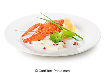 Lobster on a white plate