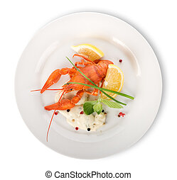Lobster on a white plate isolated