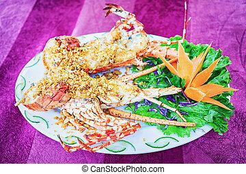 Lobster on plate in Danang Vietnam