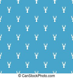 Lobster pattern seamless blue