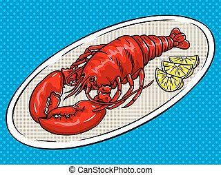 Lobster pop art vector illustration