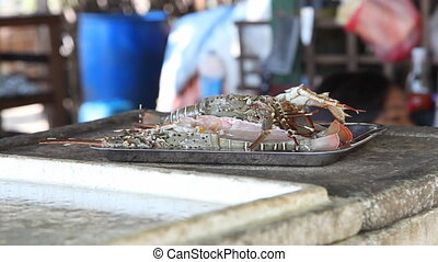 Lobster prepared  for cooking - Ngapali beach, Myanmar