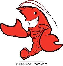 Lobster presenting something