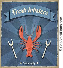 Lobster retro poster - Fresh lobster retro vintage...