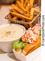 Lobster Roll and Bisque with French Fries