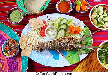 Lobster seafood Mexican style chili sauces tortilla food...