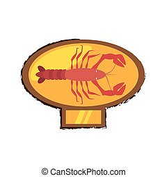 lobster sealife exotic food golden emblem