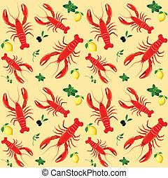 Lobster seamless pattern - Lobster sea food mint parsley ...