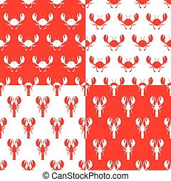 Lobster seamless vector pattern set