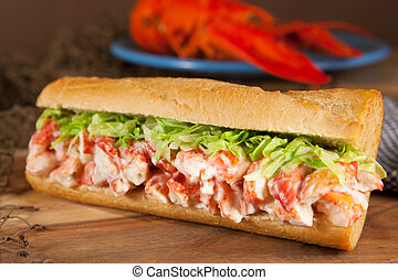 Close-up of a lobster roll with lettuce