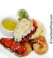 Lobster Tail And Shrimps With Mashed Potatoes