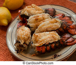 Lobster Tail Dinner - Cooked lobster tails on a plate