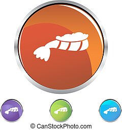 Lobster Tail - lobster tail button isolated on a background.