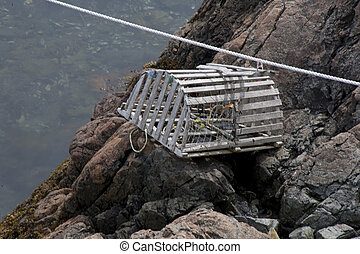Lobster Trap - A lobster trap is left sitting on a rock...