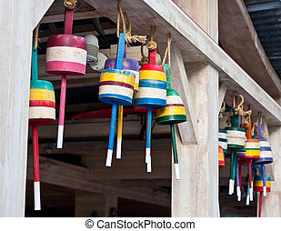 Lobster Trap Buoys Hanging From Wall