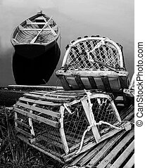 Lobster traps and dory-black and white
