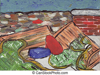Lobster Traps & bouy - ****I painted these myself**** ...