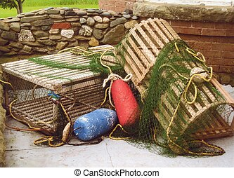 lobster traps, bouys - lobster traps and bouys with rock ...