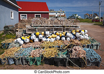 Lobster traps, floats and rope - Floats, rope and lobster ...