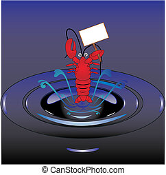 Lobster jumping out of water, illustration, holding a sign...