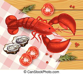 Lobster Vector realistic. Fresh Detailed seafood 3d illustrations