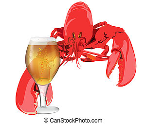 lobster with a glass of beer on white background
