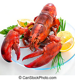Lobster with parsley and lemon slices on a dish
