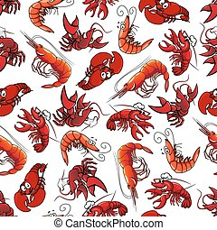 Lobsters and shrimps seamless pattern