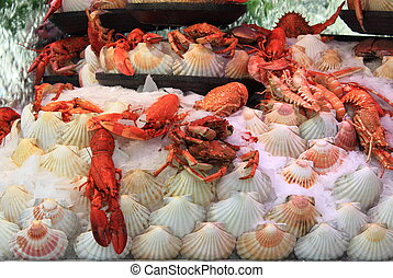 Lobsters for sale on a fish market