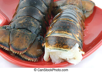 Lobsters on a red plate - close up