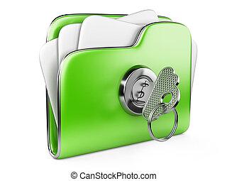 loc, cartella, verde, assicurare, files.
