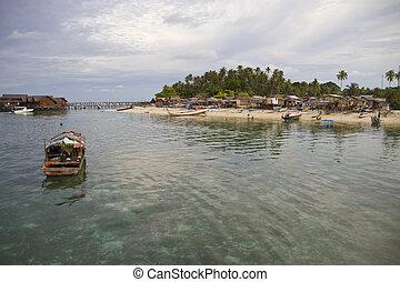 local, aldea, en, isla de mabul