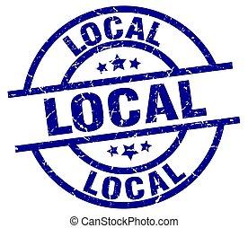 local blue round grunge stamp