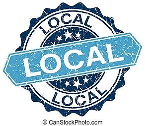 local blue round grunge stamp on white