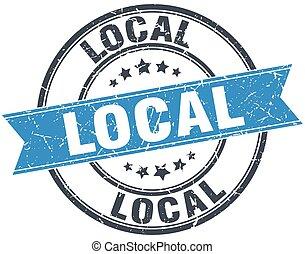 local blue round grunge vintage ribbon stamp