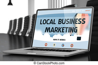 Local Business Marketing Concept on Laptop Screen. 3D. -...