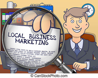 Local Business Marketing through Magnifier. Doodle Style. -...