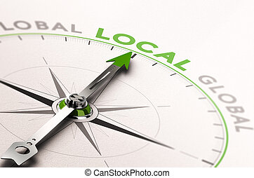 Local Business or Service - 3D illustration of a compass...